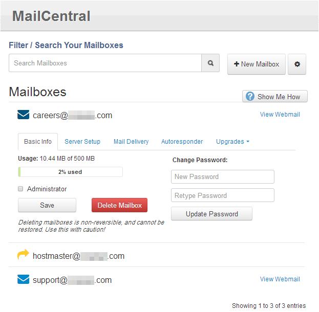 إدارة البريد استضافة آي بيج