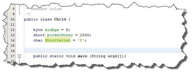 تعريف أنواع البيانات في جافا