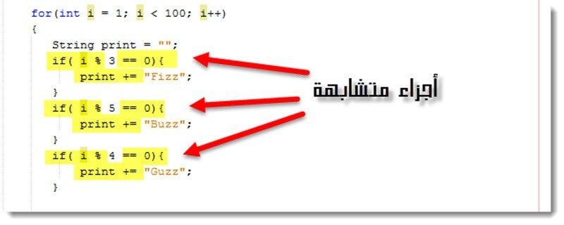 أجزاء متشابهة من الشفرة البرمجية